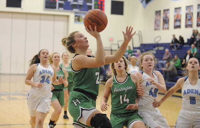 Huntington's Emily Haubeil goes up for a layup during a 65-60 loss to Adena on Tuesday Jan. 21, 2020 at Adena High School in Frankfort, Ohio.