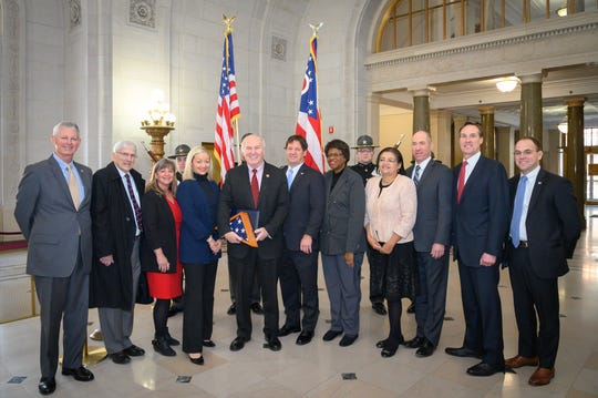 U.S. Rep. Steve Chabot flanked by Hamilton County judges, from left, Patrick Dinkelacker, retired probate judge James Cissell , Lisa Allen, Elizabeth Callan, Charles Kubicki, Melba Marsh, Kim Burke, Brad Greenberg, Tom Heekin and Josh Berkowitz.