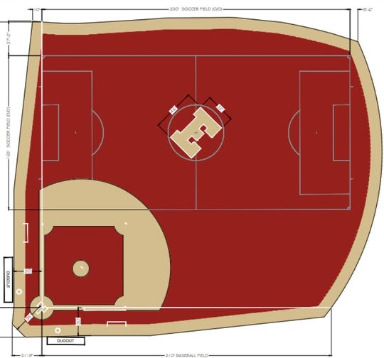 Design of the new state-of-the-art turf field on which Edison High School is breaking ground