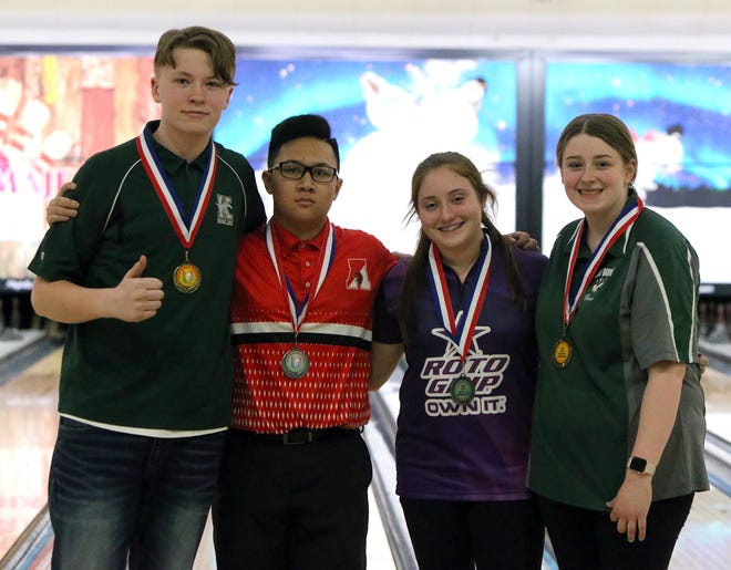 From left to right: Troy Lahr (J.F. Kennedy), Kyle Imperial (St. Thomas Aquinas), Chloe Donelan (Spotswood) and Mackenzie Keane (East Brunswick).