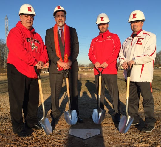 From left to right: Edison Township Board of Education President Ralph Errico, Edison High School Principal Charles Ross, Edison High School baseball coach Vincent Abene and Edison High School Athletics Director Jeff DiCocco