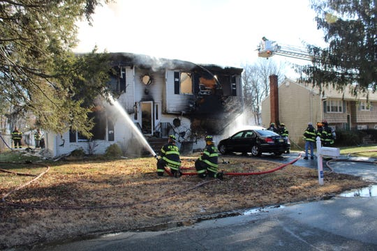 A Greenwood Drive home in Piscataway was heavily damaged in a Wednesday morning fire