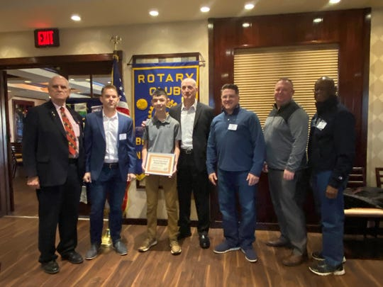 Ronan Tubridy (third from left) with everyone in Rotary that has served in our military, Dan  Matyola, Clay Mason, Ronan Tubridy, John Tubridy, Craig Casucci, James Watson and Louis Cain.