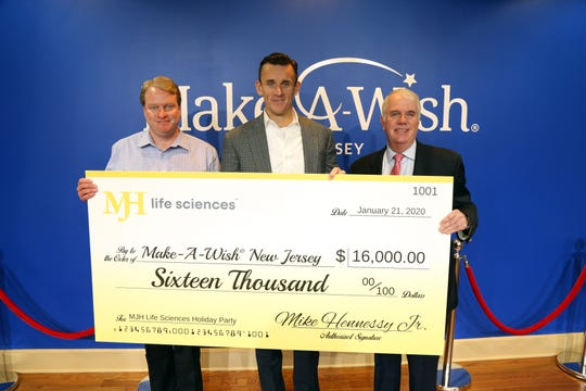 (Leftto right)Matthew McGovern, director, planned and major gifts, Make-A-WishNew Jersey; Mike Hennessy Jr., president and CEO, MJH Life Sciences; and Jerry Murphy, vice president of development, Make-A-WishNew Jersey.