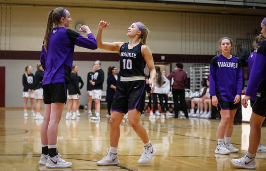 Waukee junior Katie Dinnebier is introduced prior to the start against Dowling Catholic on Tuesday, Jan. 21, 2020, at Dowling Catholic High School in West Des Moines.
