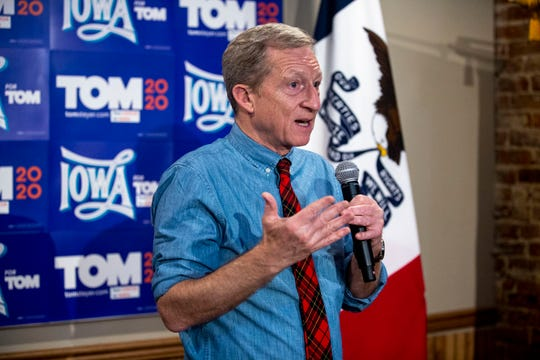 Tom Steyer, Democratic presidential candidate, speaks to a small group of people during an event on Tuesday Jan. 21, 2020, at the Farmer's Walnut Street Diner in Atlantic.