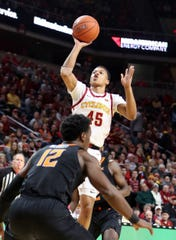 Jan 21, 2020; Ames, Iowa, USA; Iowa State Cyclones guard Rasir Bolton (45) shoots against the Oklahoma State Cowboys at Hilton Coliseum. Mandatory Credit: Reese Strickland-USA TODAY Sports