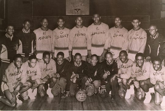 Charlie Primas (center, back row) with the basketball team at Miller High.