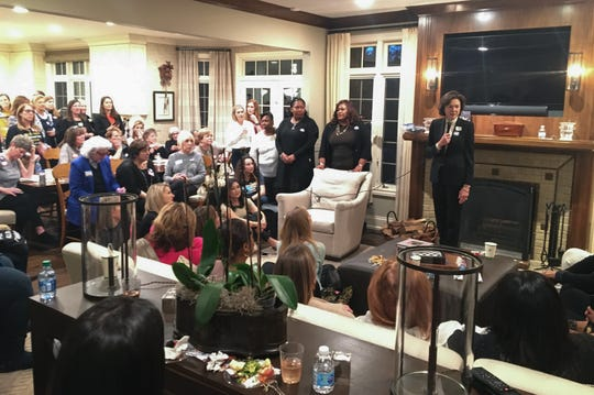 Diana Taylor, the former New York State Superintendent of Banks and longtime partner of Bloomberg speaks during an event on Jan. 16 at a home in Bloomfield Hills where about 150 people gathered to hear about the presidential campaign of New York businessman Mike Bloomberg.