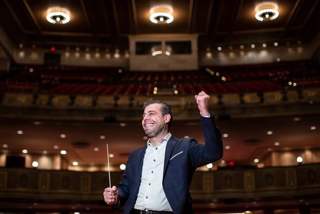 Jader Bignamini, the Detroit Symphony Orchestra's music director, at Orchestra Hall in January 2020.