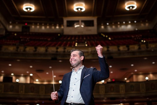 Jader Bignamini is photographed onstage at Orchestra Hall in Detroit on Tuesday, Jan. 21, 2020.