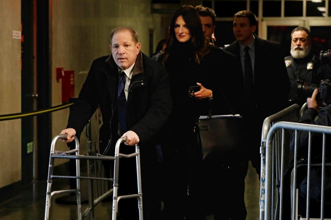 Harvey Weinstein, followed by his attorney Donna Rotunno, leaves court during his rape trial, Tuesday, Jan. 21, 2020, in New York.