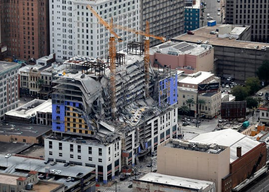 This Oct. 12, 2019, file photo, shows damage of a partial collapse at the Hard Rock Hotel under construction in New Orleans.