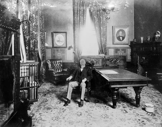 In 1896 Pingree finally was elected Michigan's governor, and served from 1897 to 1901. But his efforts to tax the railroads were blocked, and many consider his governorship ineffective. Above, he's seen in the governor's office in Lansing, circa 1900.
