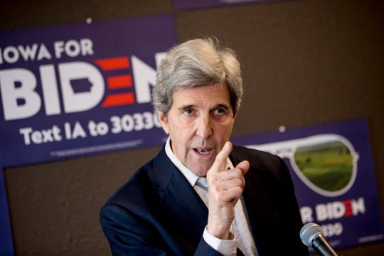 FILE - In this Jan. 9, 2020, file photo, former Secretary of State John Kerry speaks at a campaign stop to support Democratic presidential candidate former Vice President Joe Biden at the Biden for President Fort Dodge Office in Fort Dodge, Iowa.