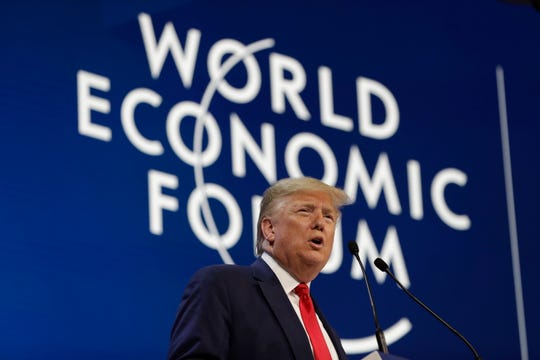 President Donald Trump delivers the opening remarks at the World Economic Forum, Tuesday, Jan. 21, 2020, in Davos.
