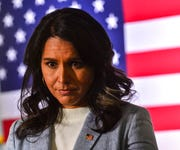 Democratic presidential candidate U.S. Rep. Tulsi Gabbard, of Hawaii, hosts a town hall meeting at the Keene Public Library, Tuesday, Jan. 21, 2020, in Keene, N.H.