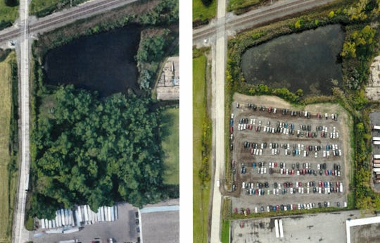 Photos taken by a drone show a parking lot on Holland Road in Taylor in 2018, left, before a developer razed acres of trees, and in 2019, after the site was converted into a parking lot. Residents and a city councilman accuse other city officials of allowing Persiconi Construction to improperly tear down the trees and avoid paying fees.