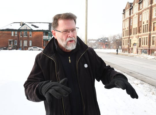 Jerry Peterson, executive director of Detroit's Ruth Ellis Center in a vacant field, west of Woodward on Clairmont, on January 22, 2020, where 43 units of permanent supportive housing for LGBTQ young adults, 18-25, who have experienced chronic homelessness will be built.