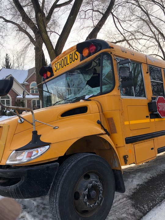A Utica Community Schools bus was struck by a sheet of ice that flew from a passing semi truck on Tuesday, January 21.