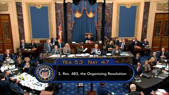 In this image from video, the vote for passage approving the rules for the impeachment trial against President Donald Trump in the Senate at the U.S. Capitol in Washington, Wednesday, Jan. 22, 2020 is displayed. Senate resolution 483 passed along a party-line vote of 53-47.