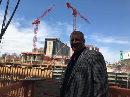 Vegas casino magnate Derek Stevens stands near construction of Circa Resort & Casino earlier this year.