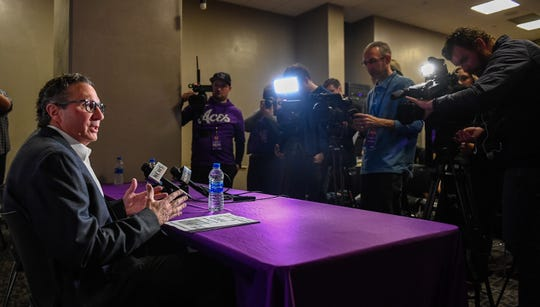 Todd Lickliter introduced as the new head coach of the Evansville Purple Aces during an afternoon news conference held at the Ford Center Wednesday. Lickliter, a former University of Evansville assistant will replace Walter McCarty, who was fired Tuesday evening, January 22. 2020.
