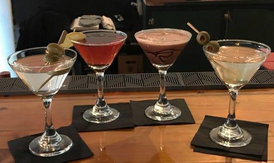 Martini drinks at MaryScott's Kitchen in New Harmony, from left: Dry Martini, Cosmopolitan, Chocolate Martini, Dirty Martini.