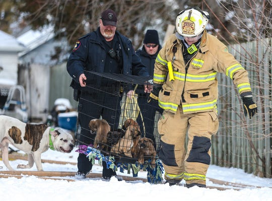 City of Fond du Lac Police Department's Travis Tuttle and Fond du Lac Fire/Rescue's Todd Janquart carry a crate of seven puppies away from a house fire Wednesday, January 22, 2020 at 111 Eighth Street in Fond du Lac, Wis.