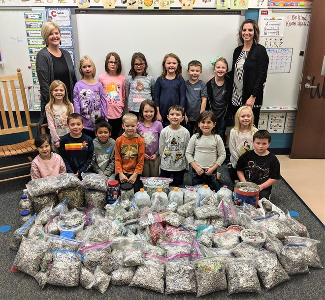 Students in Christie Miller's and Amanda Mooney's grade one classes are collecting aluminum tabs for the Ronald McDonald House Charities.