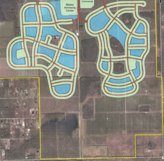 Verdana Village, a housing community  proposed by the Cameratta Companies, is the combination of two prior projects. County Commissioners this week advanced a plan to allow commercial shopping areas on that section of Corkscrew Road