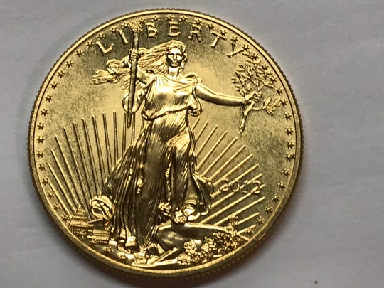 A one-ounce gold coin was left in a Salvation Army red kettle during the holiday season. It is worth about $1,500.
