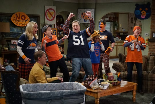 """The Conners struggle to accept a cheesehead in their midst when Becky brings her new boyfriend, a devout Christian and a Green Bay Packers fan, home to watch the Bears-Packers game on Tuesday's episode of ABC sitcom """"The Conners."""""""