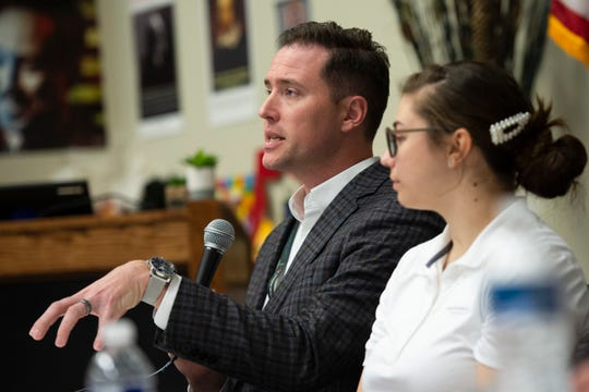 Brad Morrison, manager of pilot career recruiting at American Airlines, speaks during a panel at Greenville Technical Charter High School Wednesday, Jan. 22, 2020.