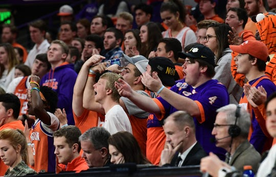 Clemson fans cheer during the first half at Littlejohn Coliseum Tuesday, January 21, 2020.