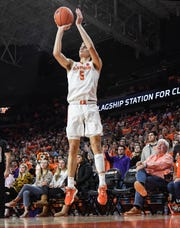 Clemson forward Hunter Tyson(5) shoots a three-pointer against Wake Forest during the first half at Littlejohn Coliseum Tuesday, January 21, 2020.