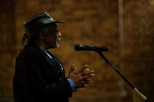 Blues musician Mac Arnold speaks during a special Greenville News Storytellers event featuring local musicians Tuesday, Jan. 21, 2020.