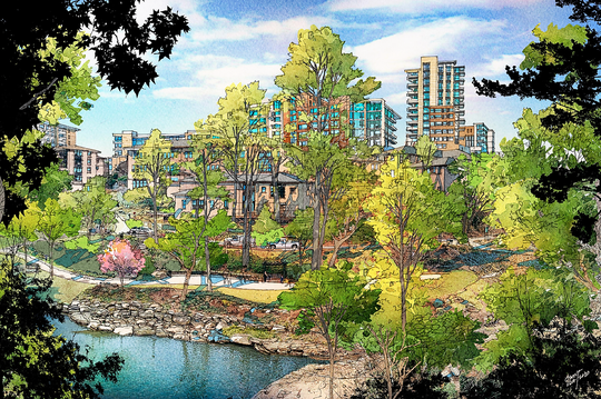 NEW RENDERING: This image prepared this week on behalf of the city of Greenville's planning department shows what the proposed $1 billion redevelopment of County Square would look like should rezoning for the site be approved. This view is from the Liberty Bridge in Falls Park in downtown Greenville looking toward University Ridge. The project is set for an up-or-down vote by the Greenville City Council on Wednesday, Jan. 22, 2020.