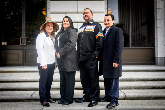 Quinault Indian Nation President Fawn Sharp, Morongo Band of Mission Indians Tribal Council Member Teresa Sanchez, Oneida Nation Chairman Tehassi Hill and Cherokee Nation Principal Chief Chuck Hoskin, Jr.