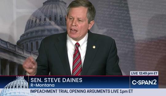 Sen. Steve Daines, R-Mont., discusses the impeachment proceedings Wednesday on CSPAN2.