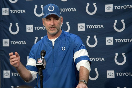 Indianapolis Colts head coach Frank Reich answers a question from a reporter during a news conference after an NFL football game against the Jacksonville Jaguars Sunday, Dec. 29, 2019, in Jacksonville, Fla.