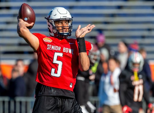 Jan 21, 2020; Mobile, Alabama, USA; North quarterback Jordan Love of Utah State (5) throws during Senior Bowl practice at Ladd-Peebles Stadium.  Mandatory Credit: Vasha Hunt-USA TODAY Sports