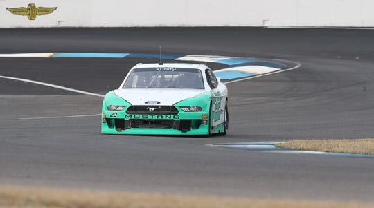 NASCAR driver Matt DiBenedetto tests the Indianapolis Motor Speedway road course, Wednesday, Jan. 22, 2020.