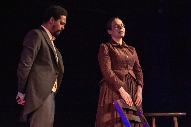 "Jessica Link and Curtis M. Jackson as Susan B. Anthony and Frederick Douglass in ""The Agitators,"" a play written by Mat Smart and directed by Chris Okiishi; the first staged production at the theater of 2020."