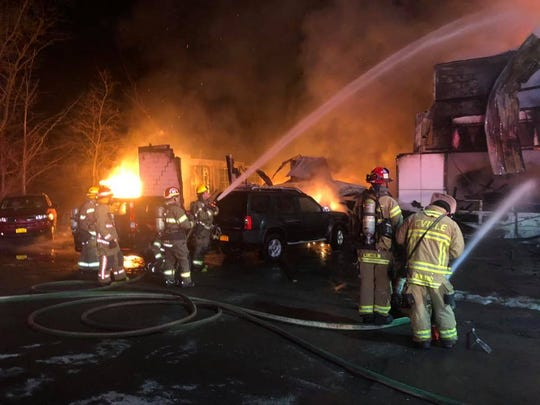 A fire early Wednesday, Jan. 22, 2020 left Cutting's Garage in Dryden a complete loss.