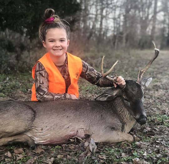 Harlee Cate Lepard, 7, who lives right off the Big Black River in Attala County, was coloring in a coloring book just before she shot this buck at 250 yards on Jan. 12, 2020.