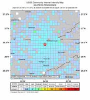 A map from the U.S. Geological Survey shows the 3.8-magnitude earthquake centered in Campbell County, Tennessee, was felt across the region on Monday, Jan. 20, 2020.