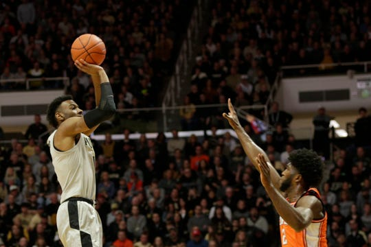 Purdue forward Aaron Wheeler (1) shoots a three pointer during the first half of a NCAA men's basketball game, Tuesday, Jan. 21, 2020 at Mackey Arena in West Lafayette.