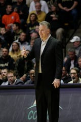 Purdue head coach Matt Painter reacts during the first half of a NCAA men's basketball game, Tuesday, Jan. 21, 2020 at Mackey Arena in West Lafayette.