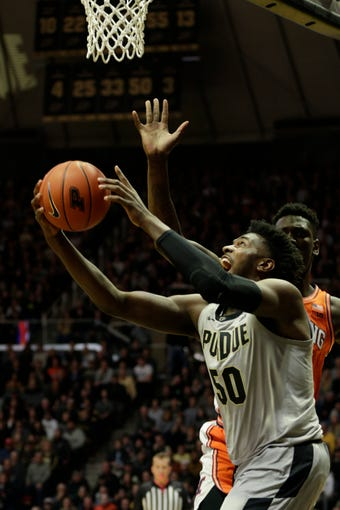 Purdue forward Trevion Williams (50) goes up for a layup during the first half of a NCAA men's basketball game, Tuesday, Jan. 21, 2020 at Mackey Arena in West Lafayette.